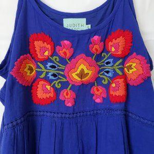 Judith March Embroidered Dress Boho Cold shoulder